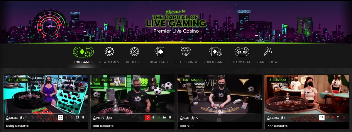 888 Live Casino Section