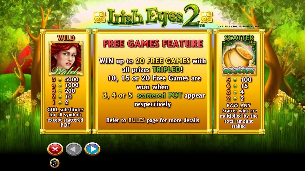 irish eyes slot 2 features
