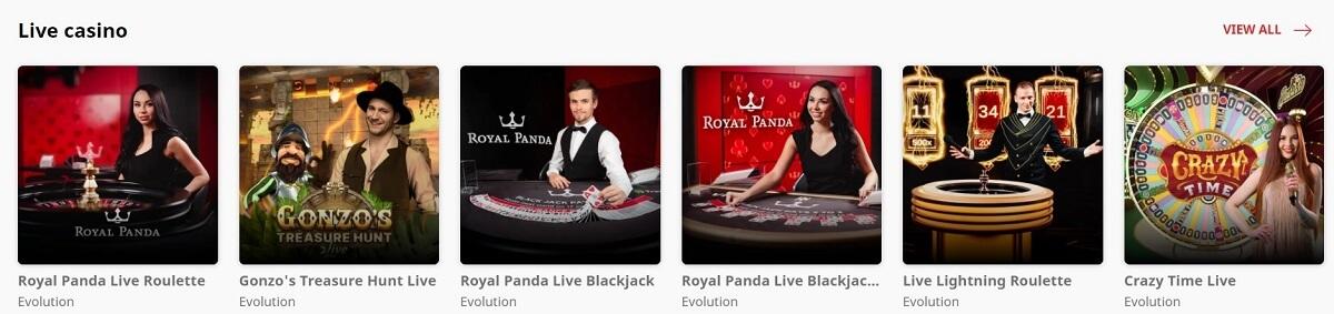 royal panda live casino games