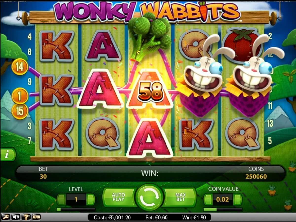 wonky wabbits slot gameplay